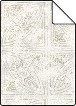 ESTAhome A4 staal van behang tegelmotief donker beige - 148338 - 21 x 26 cm