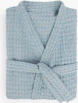 ZusenZomer Hamam Badjas voor dames en heren - wafel katoenen badjas -  kamerjas ochtendjas  - blauw - LXL