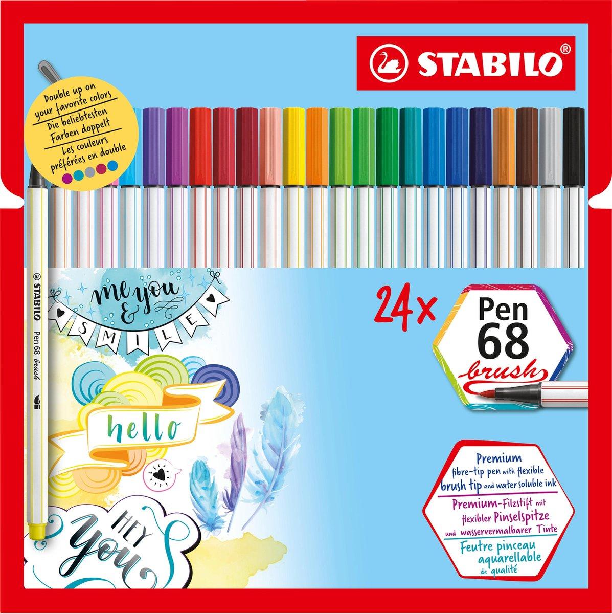 STABILO Pen 68 Brush - Premium Brush Viltstift - Etui 24 Stuks In 19 Verschillende Kleuren