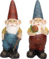 2x Tuinkabouter beelden Harold met hark en Simon met slak 29 cm - Tuindecoratie/tuinversiering kabouters beelden