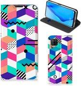 Wallet Case Huawei P40 Lite GSM Hoesje Gepersonaliseerd Cadeau Blocks Colorful