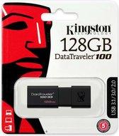Kingston DataTraveler 100 G3 128GB USB Stick 3.0 Flash Drive - Zwart