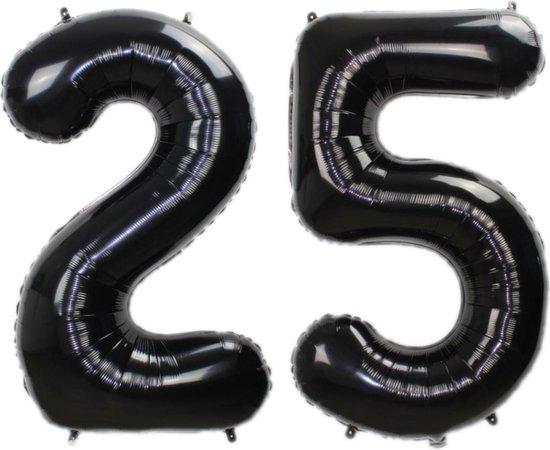 Folie Ballon Cijfer 25 Jaar Zwart 70Cm Verjaardag Folieballon Met Rietje