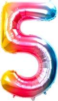 Folie Ballon Cijfer 5 Jaar Regenboog 36Cm Verjaardag Folieballon Met Rietje