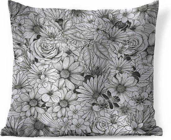Sierkussens - Kussen - Een zwart-wit illustratie van bloemdessin - 40x40 cm -...