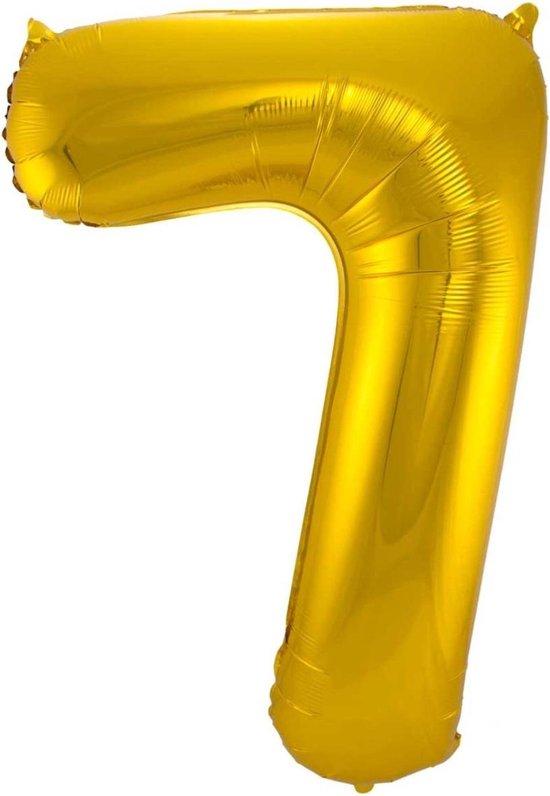 Ballon Cijfer 7 Jaar Goud 36Cm Verjaardag Feestversiering Met Rietje