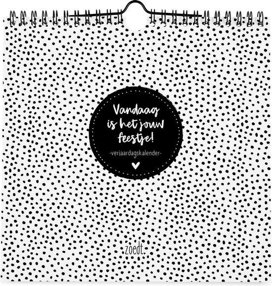 Afbeelding van Zoedt verjaardagskalender - zwart wit - vierkant - met quotes