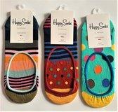 3 paar Happy socks,  liner socks, maat 36-40, meer kleurig