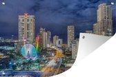 Tuinposter Gold Coast - De skyline van de Gold Coast 's nachts in Queensland Tuinposter 180x120 cm - Tuindoek/Buitencanvas/Schilderijen voor buiten (tuin decoratie) XXL / Groot formaat!