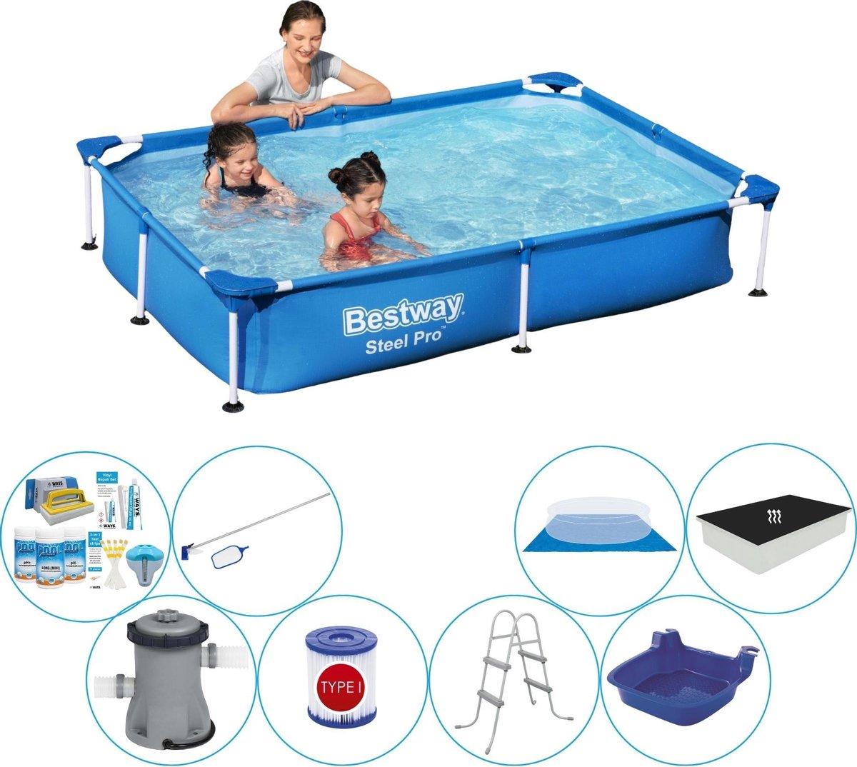 Bestway rechthoekig zwembad pakket - 220 x 150 x 43 cm - grondzeil - filterpomp -onderhoudsset