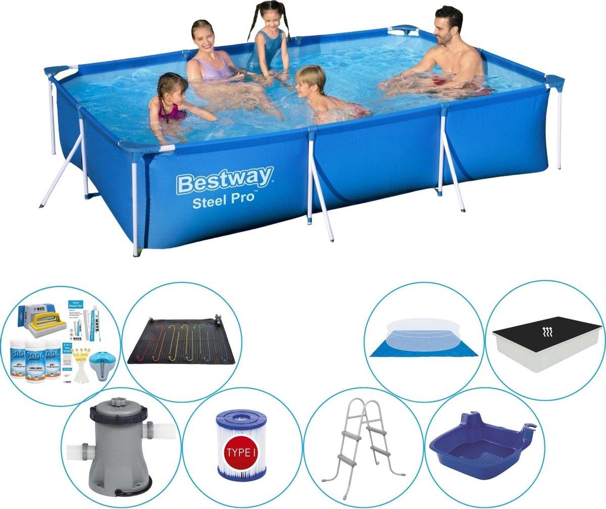 Bestway rechthoekig zwembad - duo set - inclusief grondzeil - 300 x 201 x 66