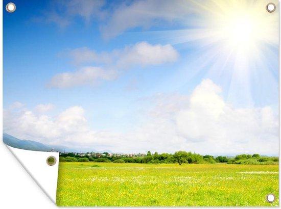 Weide in de zomer Tuinposter 120x90 cm - Tuindoek / Buitencanvas / Schilderijen voor buiten (tuin decoratie)