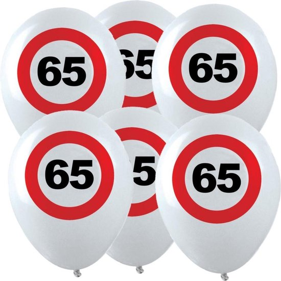 36x Leeftijd verjaardag ballonnen met 65 jaar stopbord opdruk 28 cm