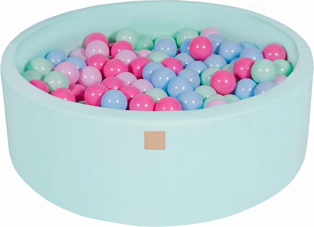 Ronde Ballenbak set incl 200 ballen 90x30cm - Mint: Mint, Babyblauw, Licht Roze, Roze