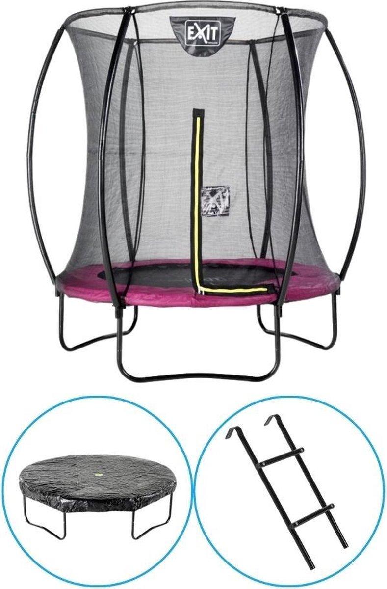 EXIT Toys - Trampoline Met Veiligheidsnet - Op Poten - Silhouette - Rond - ø183cm - Roze - Inclusief Ladder en Afdekhoes