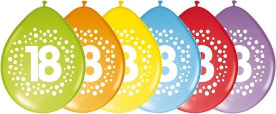 16x stuks verjaardag leeftijd party ballonnen in 18 jaar thema - Opgeblazen 29 cm - Feestartikelen/versieringen