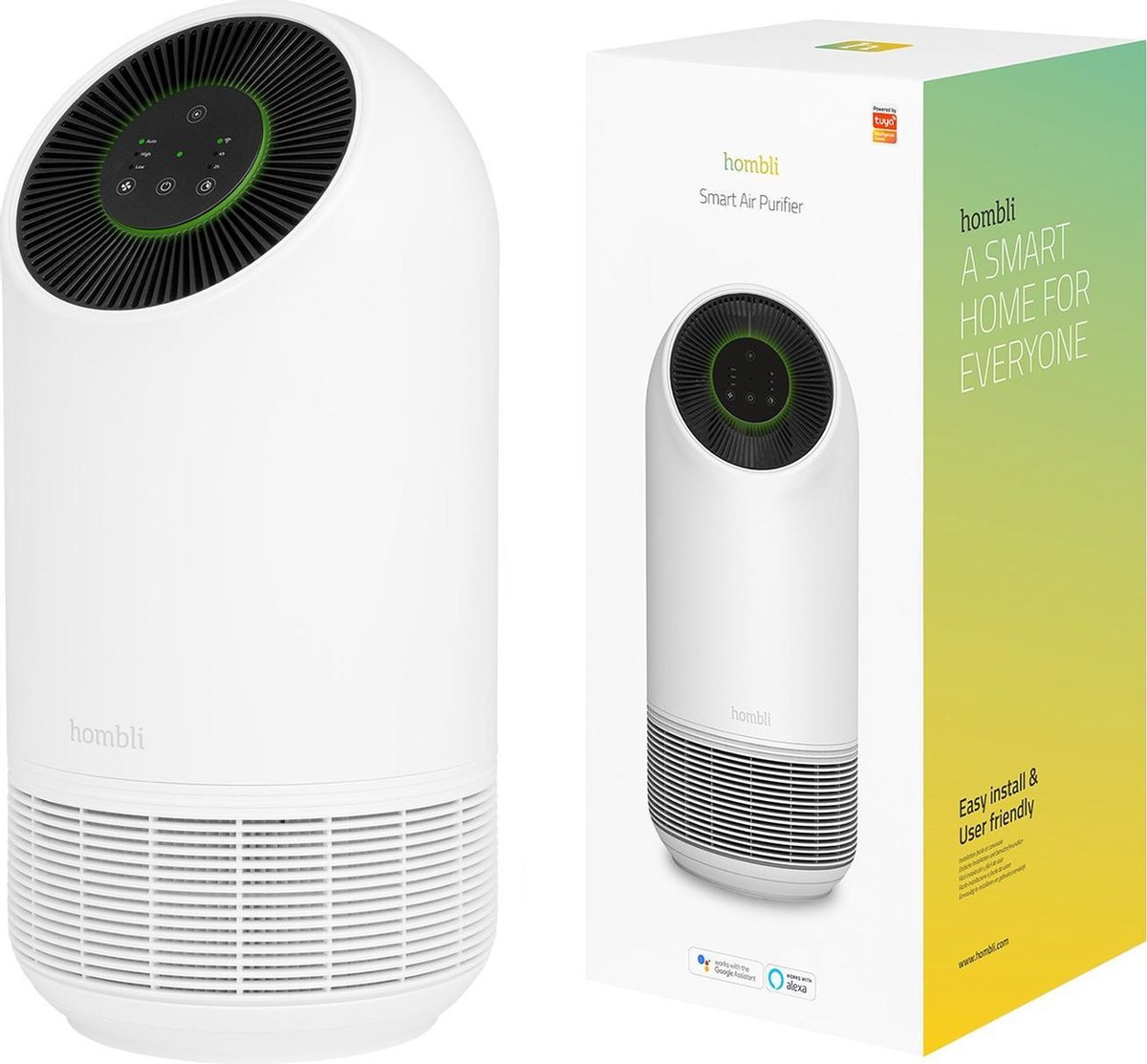 Hombli Smart Air Purifier – Luchtreiniger – HEPA 13 Filter en Actieve Koolstoffilter – Wifi – Bediening via App – Spraakbesturing met Google, Alexa en Siri