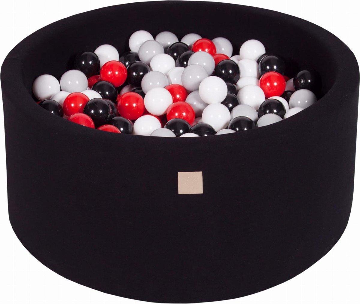 Ronde Ballenbak set incl 300 ballen 90x40cm - Zwart: Zwart, Grijs, Rood, Wit