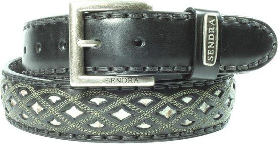 Sendra Boots Riem 8680 Zwart Dames Heren Riem Gekleurd Sierstiksel Verwisselbare Gesp Handgemaakt Cowboy Western Ibiza Bohemian 4cm Brede Unisex…