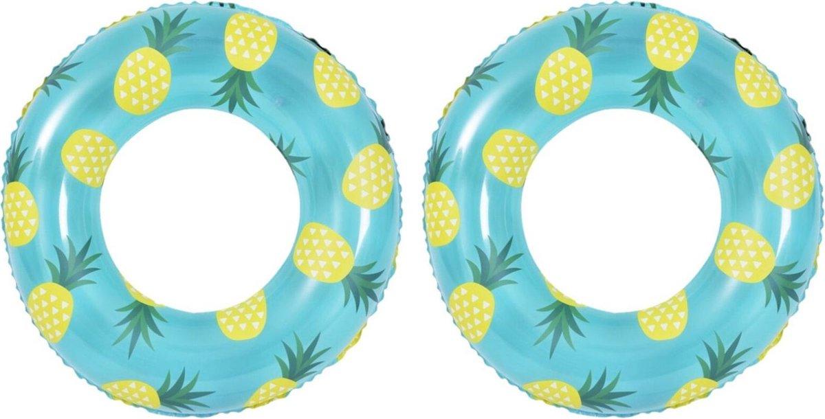 2x stuks opblaasbare zwembad banden/ringen ananas 90 cm - Zwembanden/zwemringen speelgoed