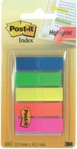 Afbeelding van Post-it® Index Translucent, Draagbare Set, Groen, Oranje, Roze, Geel, Blauw, 12 x 43 mm, 20 Tabs/Kleur/Dispenser