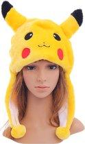 Pikachu muts flappen oren - Pokemon Go pluche geel bontmuts laplander