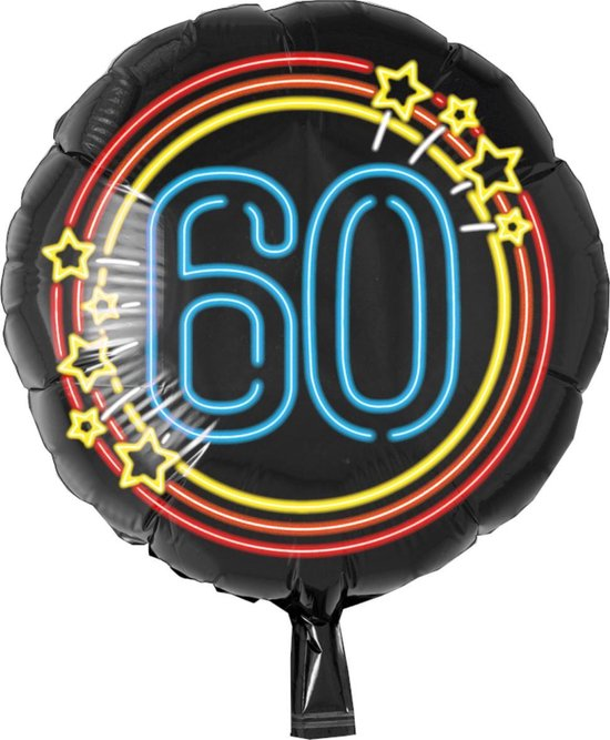 Folieballon - 60 Jaar - Neon - 43cm - Zonder vulling