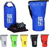 relaxdays Ocean Pack 20 liter - waterdichte tas - strandtas - zeilen - outdoor plunjezak blauw