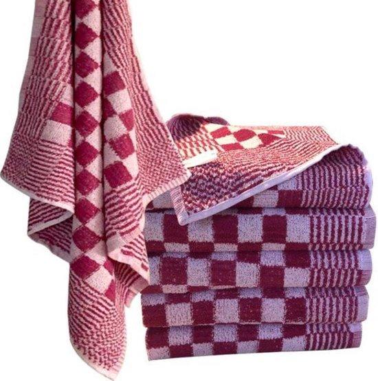Keukendoek scherp rood / wit 100% katoenen badstof   set van 6 stuks   60x60cm  - Leverbaar in: 60x60
