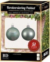 Kerstbal en ster piek set 51x mintgroen - voor 120 cm boom - Kerstboomversiering mintgroen