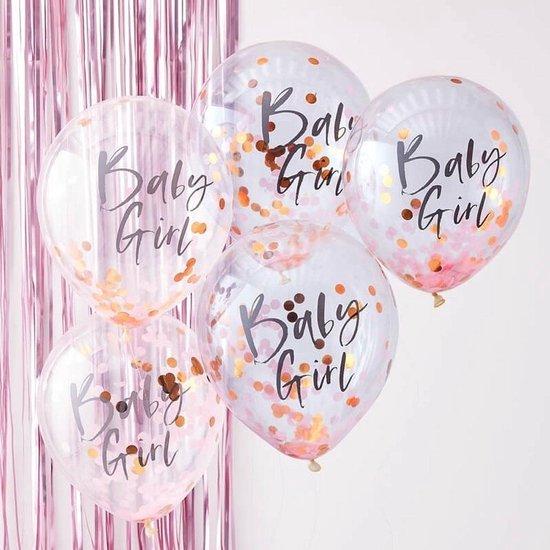 Confetti Ballonnen 'Baby Girl' - 5 stuks