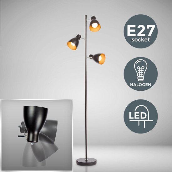 B.K.Licht - Vloerlamp - staande lamp zwart - industrieel - retro - kantelbaar - zwart goud - E27