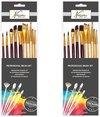 20x Professionele schilder penselen - Penselen/kwasten voor olie/acryl/aquarel verf 20x stuks