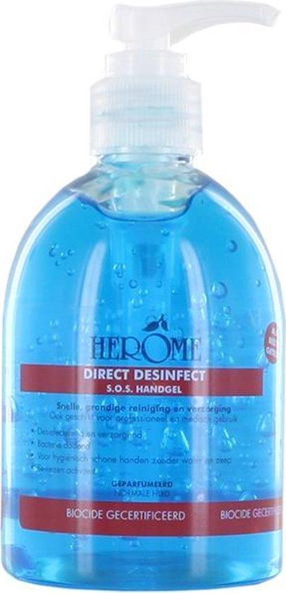 Herome Direct Desinfect - 300ml. - Desinfecterende Handgel met 80% Alcohol -  Beschermt Tegen Bacteriën en Droogt de Handen Niet Uit