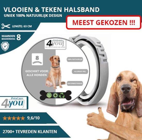 Vlooienband - beschermingsmiddel - 8 Maanden Bescherming - Alle Honden & Katten - Anti Vlooien en Teken middel - 63 cm - grijs