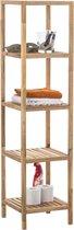 Clp Houten badkamerrek / keukenrek - Walnoot Wiki 36 x 36 x 145 cm, 5 niveaus