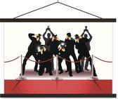 Een illustratie van de fotografen aan de rode loper schoolplaat platte latten zwart 120x80 cm - Foto print op textielposter (wanddecoratie woonkamer/slaapkamer)