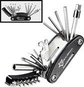 Decopatent® PRO Multitool Fiets gereedschap reparatieset - 16 delige - Pocket Tool - Racefiets - Mtb - Toerfiets - Ebike - Fietsen