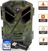 Wildcamera 30 MP & 4K Ultra HD Video - Incl. SD kaart 32GB + Kaartlezer en 8 AA Batterijen – Wildlife camera - Jachtcamera – Observatiecamera – Bewakingscamera – Wild camera - Camouflage