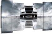Canvas schilderij Audi   Wit, Grijs, Zwart   150x80cm 5Luik
