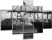 Glasschilderij Boot   Grijs, Zwart, Wit   100x70cm 5Luik   Foto print op Glas    F001763