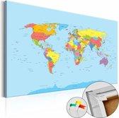 Afbeelding op kurk - Wereldkaart In Kleuren, Multikleur , 1luik