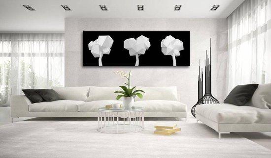 Schilderij - Geometrische bomen , zwart wit
