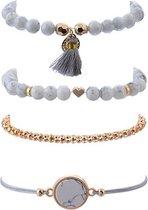 Joboly Set armbanden marmer love hartje mandala 4 delig - Dames - Goudkleurig - 18 cm