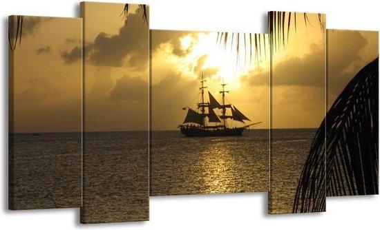 Canvas schilderij Zeilboot | Geel, Grijs, Zwart | 120x65 5Luik