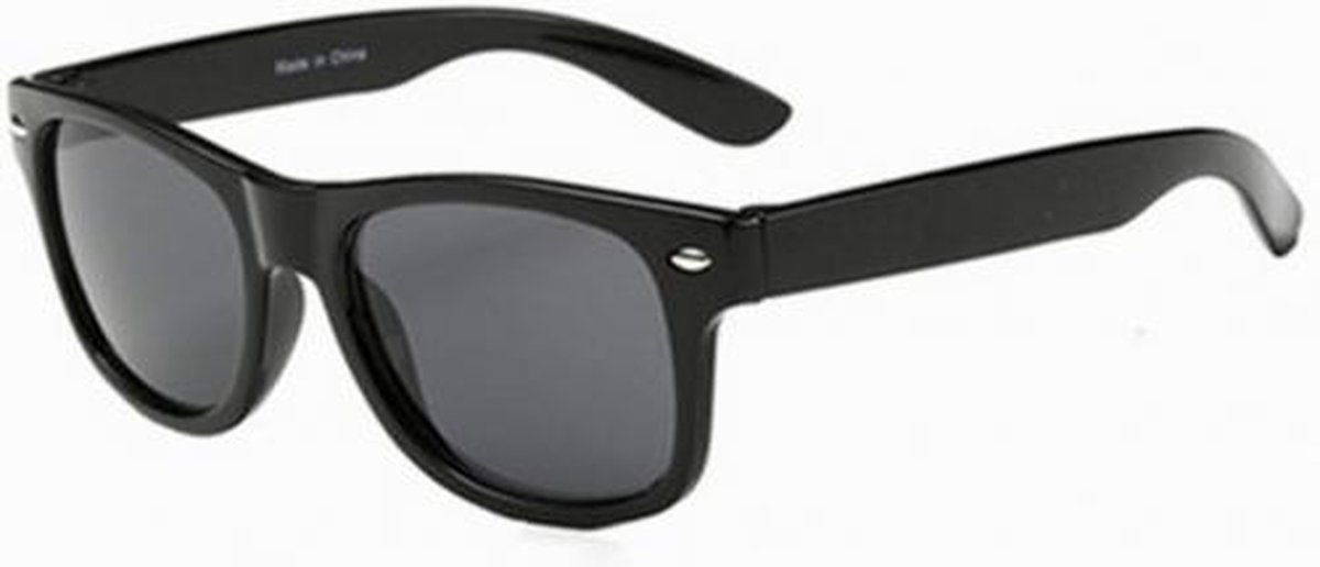 Hidzo Kinder Zonnebril Wayfarer Zwart - UV 400 - Zwarte Glazen