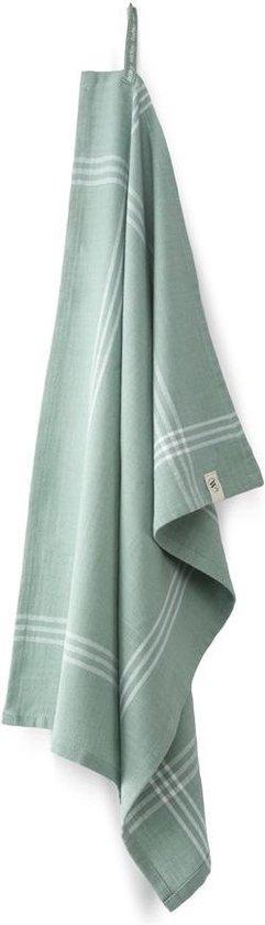 4x Fraaie Katoen Theedoeken Enjoy The Day Groen   50x70   Streepmotief   Hoogwaardige Kwaliteit