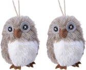 2x Kerstboomhangers lichtbruine uilen 10 cm kerstversiering - Lichtbruine kerstversiering/boomversiering