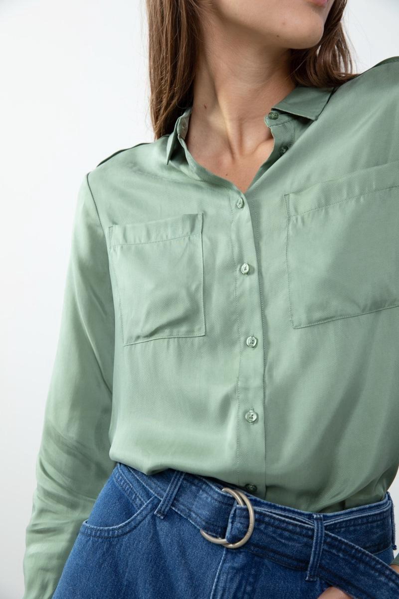 Sissy-Boy - Groene cupro viscose blouse