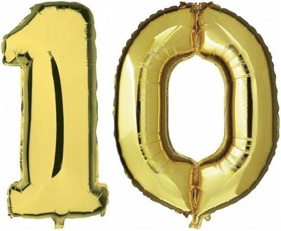10 jaar gouden folie ballonnen 88 cm leeftijd/cijfer - Leeftijdsartikelen 10e verjaardag versiering - Heliumballonnen